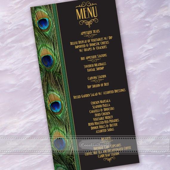rehearsal dinner menu, retirement party menu, birthday party menu, peacock menu, 50th birthday party menu, wedding luncheon menu, IN605