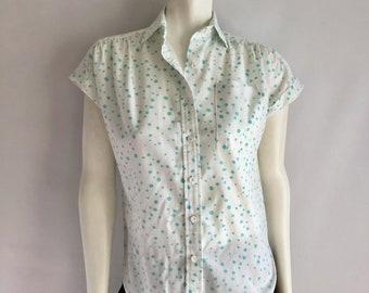 Vintage Women's 80's Polka Dot, Top, Sleeveless, Blouse by Lady Diplomat (M)