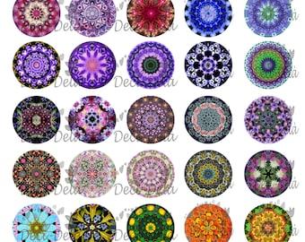 "100 digital images for cabochons florals ""kaleidoscope"""