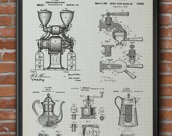 Coffee blueprint etsy barista coffee poster coffee bar sign coffee shop patent design us patent blueprint poster caffeine print coffee printable coffee malvernweather Choice Image