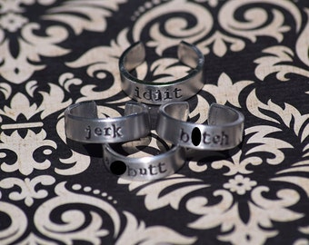 "B*tch, Jerk, A**butt, Idjit - Supernatural Inspired 1/4"" Aluminum Adjustable Ring Set of 4 - Hand Stamped"