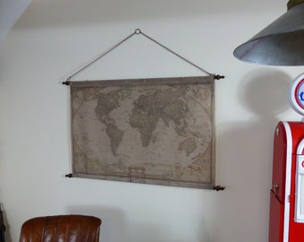 Vintage World Map Canvas Back-Drop on chains and pole