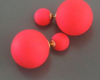 Ear Jackets - Statement Earrings - Neon Earrings - Pink Earrings - Double Sided Earrings - Ball Earrings - Stud Earrings - Post Earrings