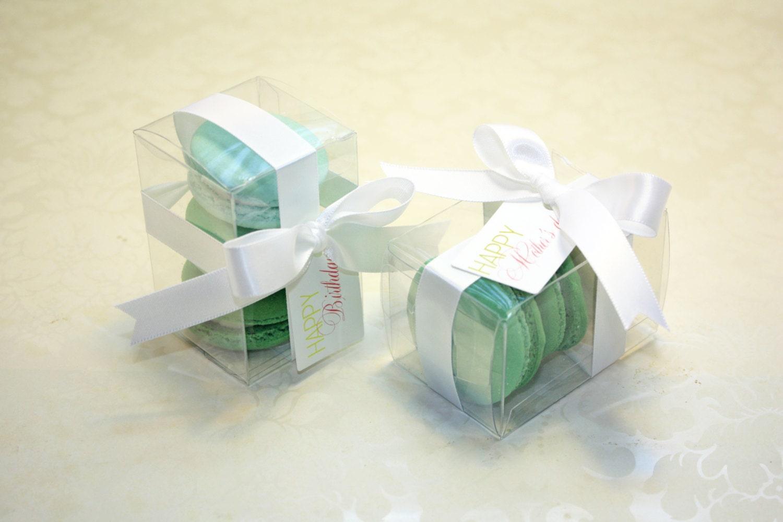 Green Ombre Macaron Box - 12 pcs. Green Macaron Favor boxes
