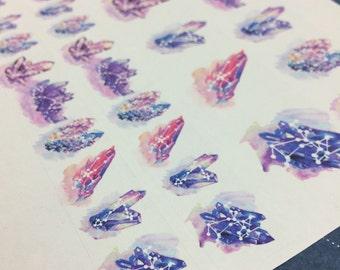 Konstellation Himmel Kristalle WASHI Streifen Aufkleber Sternzeichen Sternzeichen Edelstein Washi Galaxie Boho Pulver Welt gemalt Aquarell Edelsteine