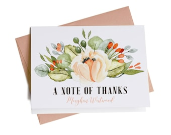 Personalized thank you cards bridal shower thank you cards personalized thank you cards bridal shower thank you cards business thank you cards thank you notes custom note cards floral ty1017 colourmoves