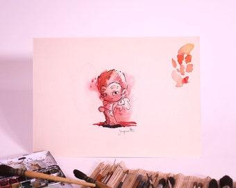 Kevin & Alex - Alex angel - original ink and watercolor illustration - 2005