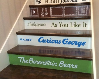 Book Title Decals for stairs * the price is for EACH step riser. ANY title, custom made. Just send your list & measurements to get started!