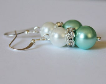 White and Turquoise Pearl Rhinestone Earrings