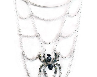 Spider's Lair Necklace - Crystal & Chain Spiderweb Necklace