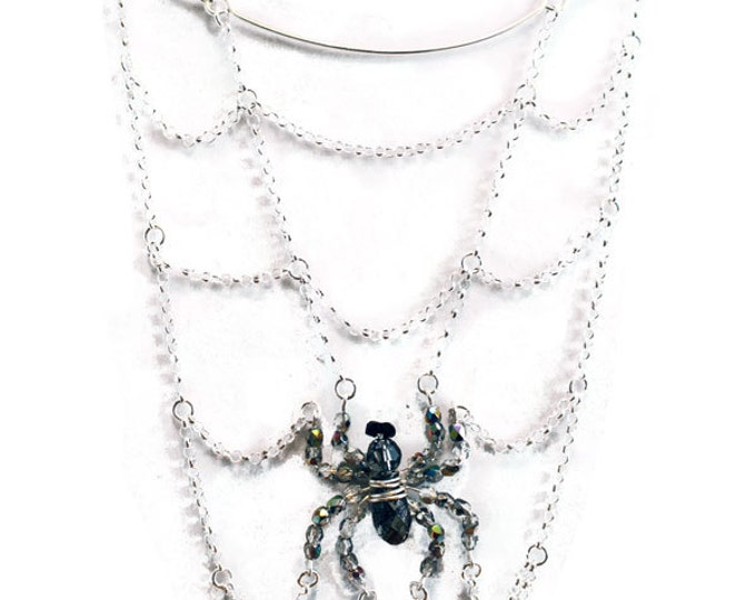 Featured listing image: Spider's Lair Necklace - Crystal & Chain Spiderweb Necklace