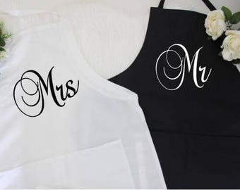 Personalized wedding gifts for the couple, Mr Mrs apron, anniversary gift, engagement gifts for couple, newlywed gift, Gift for Bride