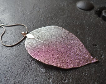 Real Natural Rose Gold Plated Leaf Necklace on a Black Adjustable Cord or chain
