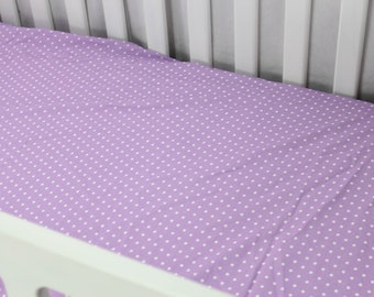 Fitted Crib Sheet or Change Pad Cover - Purple with White Dot