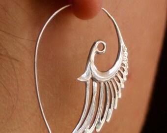 Silver Feather Earrings - Angel Wing Earrings - Sterling Silver - Bird Earrings - Gypsy Earrings - Tribal Hoop Earrings - Wedding (S55)