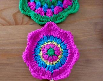 Crochet hanging mandala trio