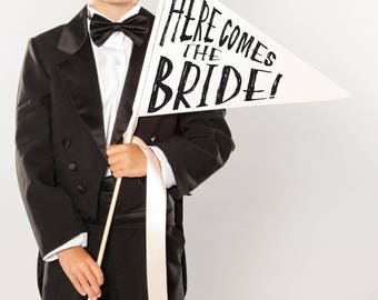 "Wedding Pennant Flag ""Here Comes the Bride"" Sign 