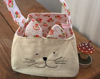 Kitty Cat Bag, kitty cat tote, gift bag, printed cotton lining and ears, freemotion sewn features, purse, ready to ship