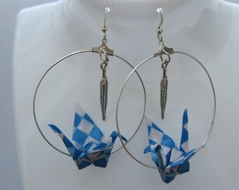 Creole Origami crane earrings
