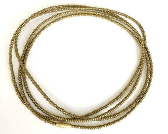 Gold African Waist Beads - Waist Beads - Belly Chain - Belly Beads - With Clasps