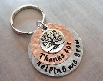 Graduation Teacher Gift Keychain- Thanks for helping me Grow-Teacher Gift-Thank you Teacher-Back to School- Personalized Keychain-K102
