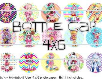 """Shoppies ALL  printables  4x6 - 1"""" circles, bottle cap images, stickers"""