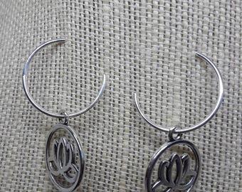 Lotus Charm Hoop Earrings