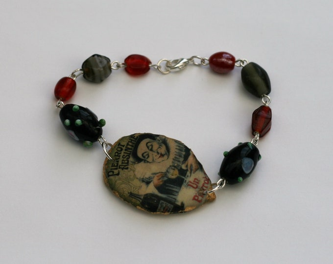 Black and Red Absinthe Bracelet, Flower Bracelet, Absinthe Bar Bracelet