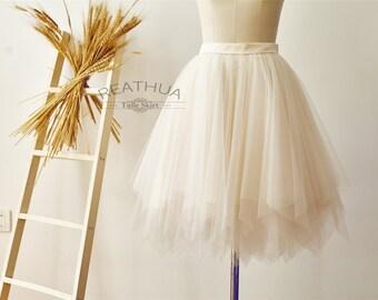 Champagne Ruffle UnevenTulle Skirt/Short Women Tulle Skirt/TUTU Tulle Skirt/Wedding Bridal Bridesmaid Skirt/Knee Length Skirt
