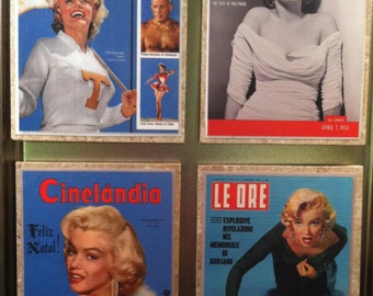Set of 4 ~ Marilyn Monroe ~ Vintage Magazine Cover Magnets