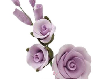 "Set of 3 - 3.5"" Lavender Rose Filler Medium Gumpaste"