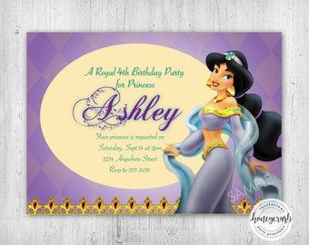 Printable Jasmine Birthday Invitations ~ Princess jasmine invitation printable aladdin birthday