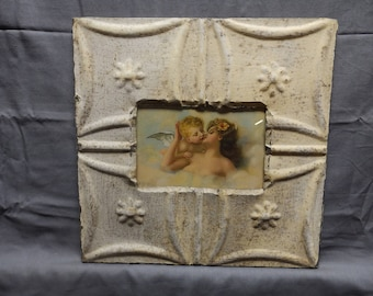 Tin Ceiling Picture Frame Yellow/White RECLAIMED Shabby 4x6 21-18P