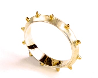 Acupuncture Ring. Seen here in Sterling Silver & 14K Yellow Gold. Custom-made in Your size.
