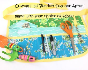 Custom Sassy Half Vendor/ Teacher Apron made with your choice of fabric, Womens Regular and Plus SIzes, great for Teachers, Vendors, Crafts