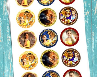 """Beauty And The Beast Inspired - Princess Belle - Digital Bottle Cap Images - INSTANT DOWNLOAD - 1"""" Bottle Cap Images 4x6"""