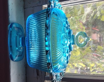 Vintage Clear Blue Glass Dish with Lid
