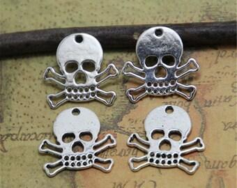 35pcs  silver Tone Skull and Crossbones Pirate Charm pendants 18x17mm  ASD0217