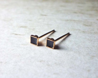Tiny Black Enamel Square Stud Earrings, Dainty Earrings