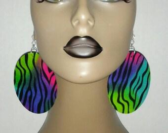 Multiple Colors Zebra Print Womens Fabric Earrings, Women Earrings, Fashion Earrings, Fabric Earring, Large Earrings, Round Earrings