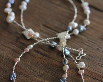 Patterned Silver Beads and Irregular three color pearls necklace (N0004b)