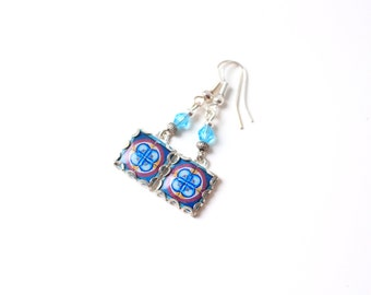 French tiles Earrings with vintage drawings  Blue, white, aqua and red  floral and  medieval drawings