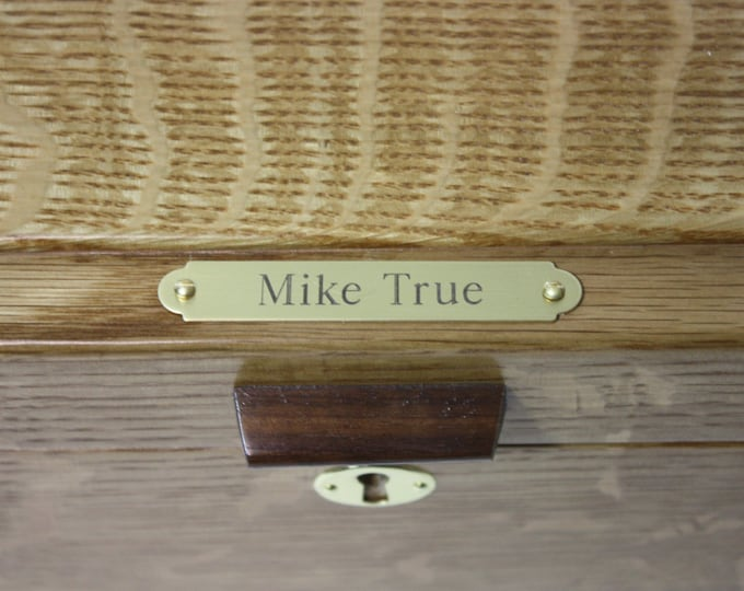 """Engraved Satin Brass Ornamental (1/2"""" x 3"""") Plate. Personalize a Box With Choice of Fonts."""