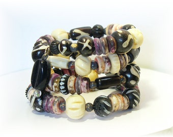 Wood and Bone Beaded Bracelet, Memory Wire Black and White Bracelet - B2012-22