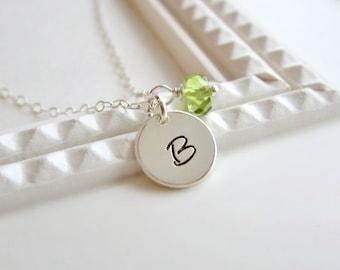 Custom initial necklace, August birthstone necklace, sterling silver monogram, custom gemstone, silver initial