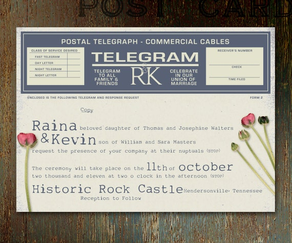 Vintage Telegram UNIQUE WEDDING INVITATION With Stems And Red