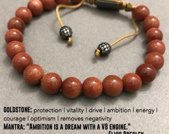 AMBITION: Goldstone | Macrame Mala Beaded Bracelet Yoga Bracelet Chakra Bracelet Calming Bracelets Energy Bracelets Reiki Healing Jewelry