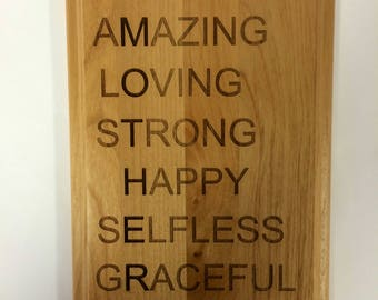 """Words that describe Mom, 8"""" by 10"""" engraved red alder plaque. Amazing, Loving, Strong Happy, Selfless, and Graceful"""