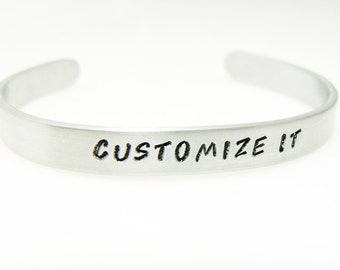 """Hand Stamped Bracelet Customized Aluminum Skinny Cuff Personalized Bangle Mothers Day Graduation Gift Birthday  1/4"""" Wide"""