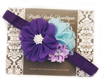 Baby Purple Headband - Baby Girl Headband -Purple and Aqua Flower Headband -Baby Headband - Photo Prop